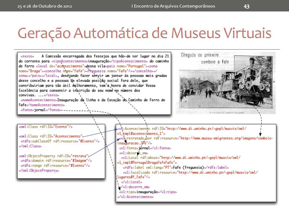 Geração Automática de Museus Virtuais 25 e 26 de Outubro de 2012I Encontro de Arquivos Contemporâneos 43