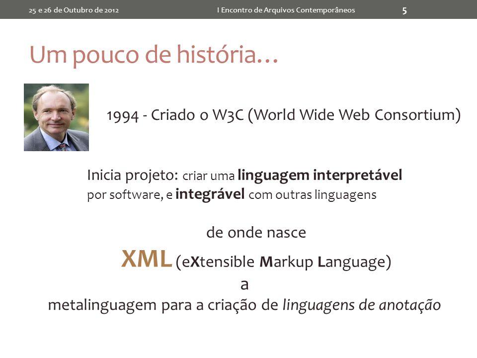 Um pouco de história… 25 e 26 de Outubro de 2012I Encontro de Arquivos Contemporâneos 5 1994 - Criado o W3C (World Wide Web Consortium) de onde nasce XML (eXtensible Markup Language) Inicia projeto: criar uma linguagem interpretável por software, e integrável com outras linguagens a metalinguagem para a criação de linguagens de anotação
