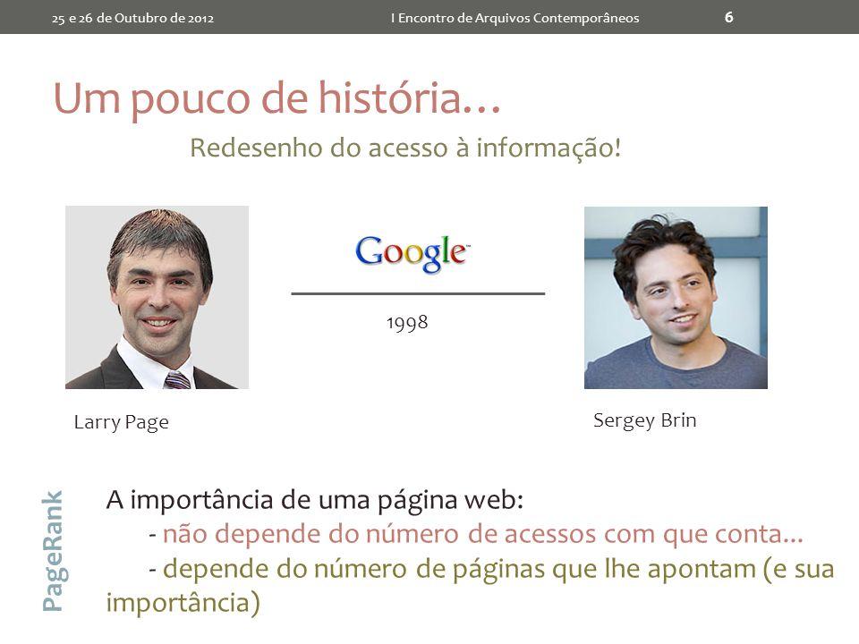 Um pouco de história… 25 e 26 de Outubro de 2012I Encontro de Arquivos Contemporâneos 6 Larry Page Sergey Brin 1998 Redesenho do acesso à informação.