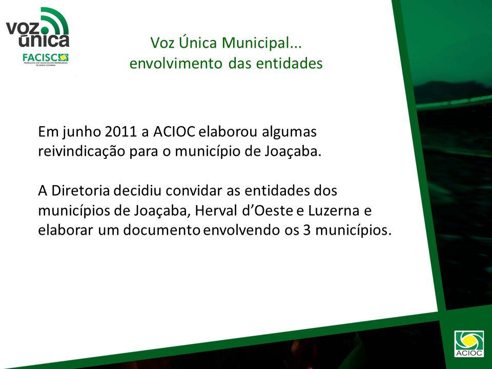 Tudo Começou em 19.05.2010 na Expogestão com o Lançamento do Projeto Voz Única – Facisc. Em 2010 - Nas eleições para governador a ACIOC elaborou o Voz