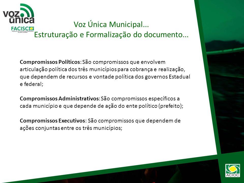 Em 18.07.2012 – Participação dos presidentes de 20 entidades para elaborar a carta compromisso/Voz Única. Formação de Comissão Central. Voz Única Muni