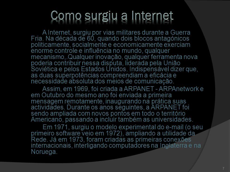 Em 1982, foi implementado o TCP/IP, protocolo padrão da Rede.