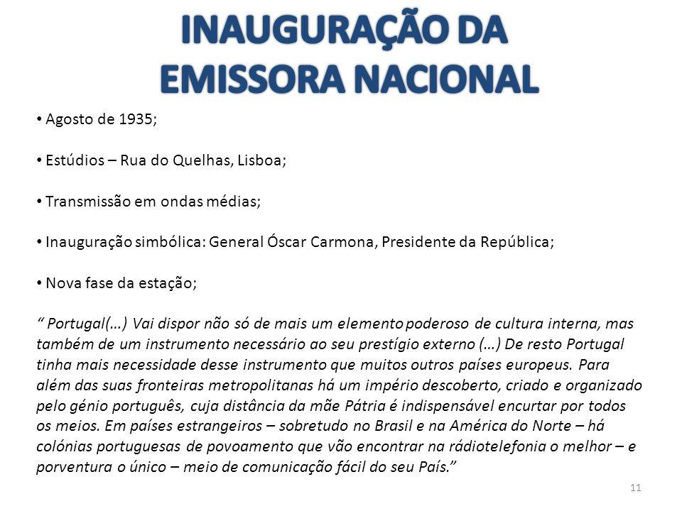 Agosto de 1935; Estúdios – Rua do Quelhas, Lisboa; Transmissão em ondas médias; Inauguração simbólica: General Óscar Carmona, Presidente da República;