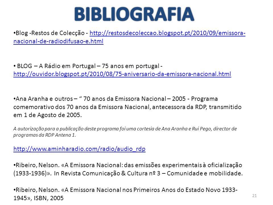 21 Blog -Restos de Colecção - http://restosdecoleccao.blogspot.pt/2010/09/emissora- nacional-de-radiodifusao-e.htmlhttp://restosdecoleccao.blogspot.pt