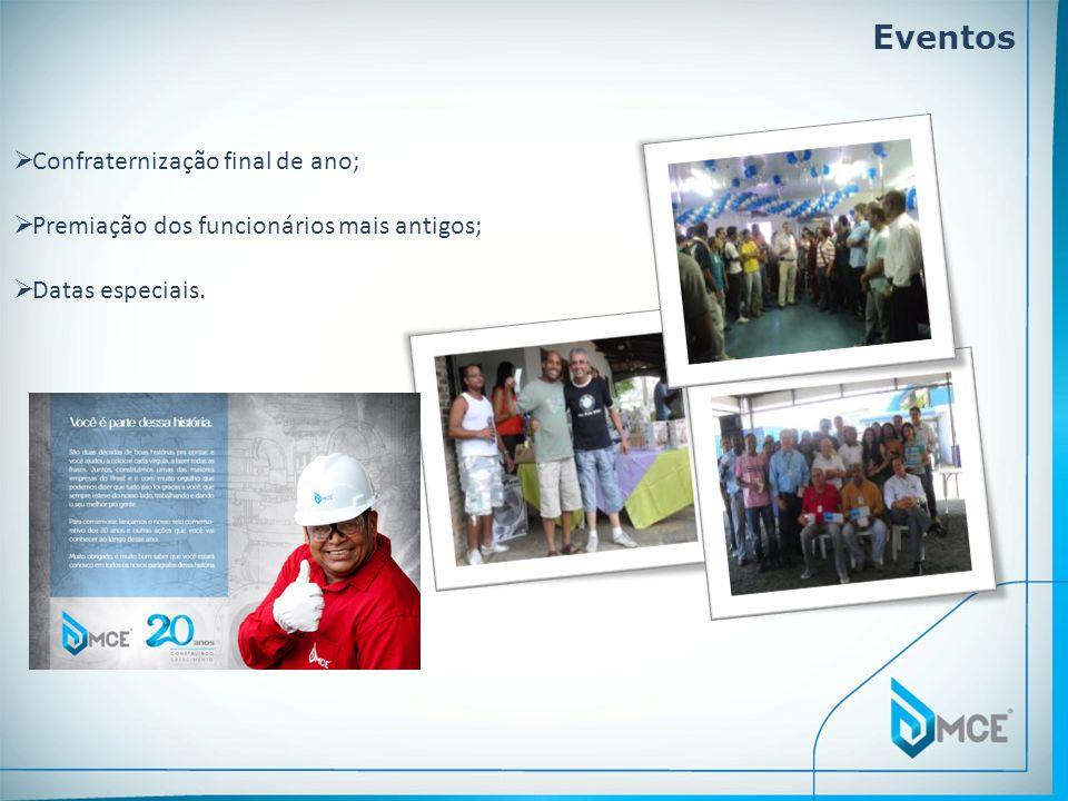 Eventos Confraternização final de ano; Premiação dos funcionários mais antigos; Datas especiais.