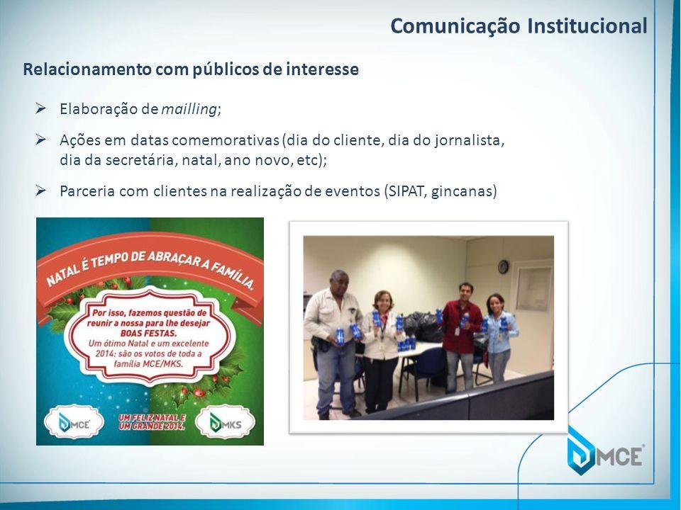 Comunicação Institucional Relacionamento com públicos de interesse Elaboração de mailling; Ações em datas comemorativas (dia do cliente, dia do jornal
