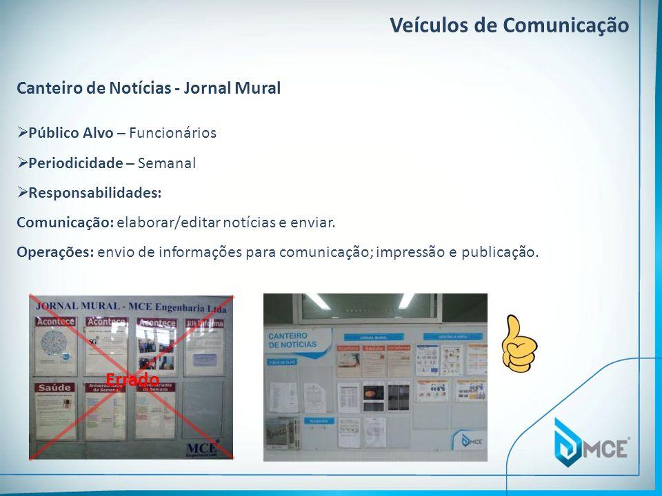 Veículos de Comunicação Canteiro de Notícias - Jornal Mural Público Alvo – Funcionários Periodicidade – Semanal Responsabilidades: Comunicação: elabor