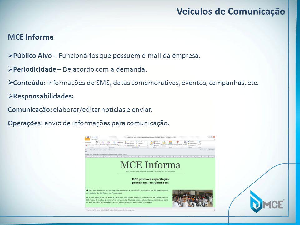 Veículos de Comunicação MCE Informa Público Alvo – Funcionários que possuem e-mail da empresa. Periodicidade – De acordo com a demanda. Conteúdo: Info