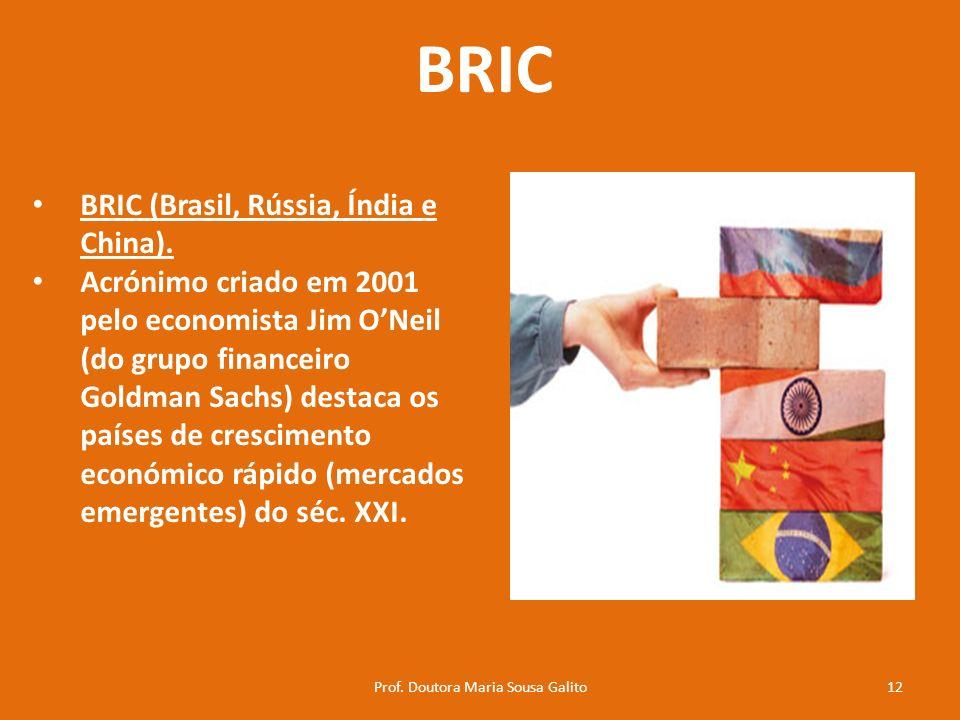 BRIC BRIC (Brasil, Rússia, Índia e China). Acrónimo criado em 2001 pelo economista Jim ONeil (do grupo financeiro Goldman Sachs) destaca os países de