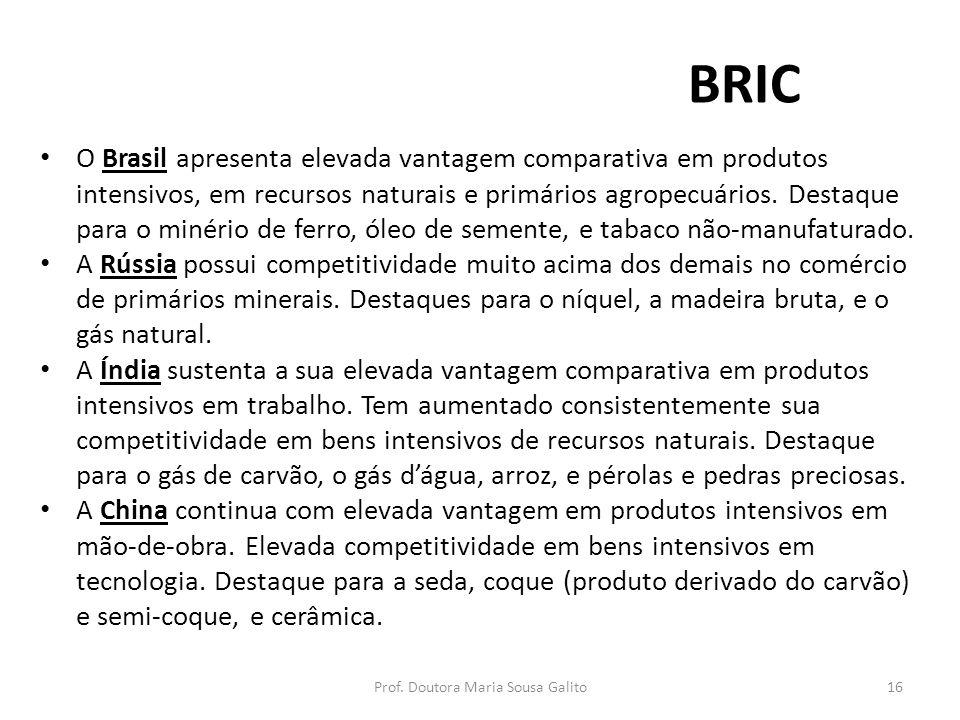 BRIC O Brasil apresenta elevada vantagem comparativa em produtos intensivos, em recursos naturais e primários agropecuários. Destaque para o minério d