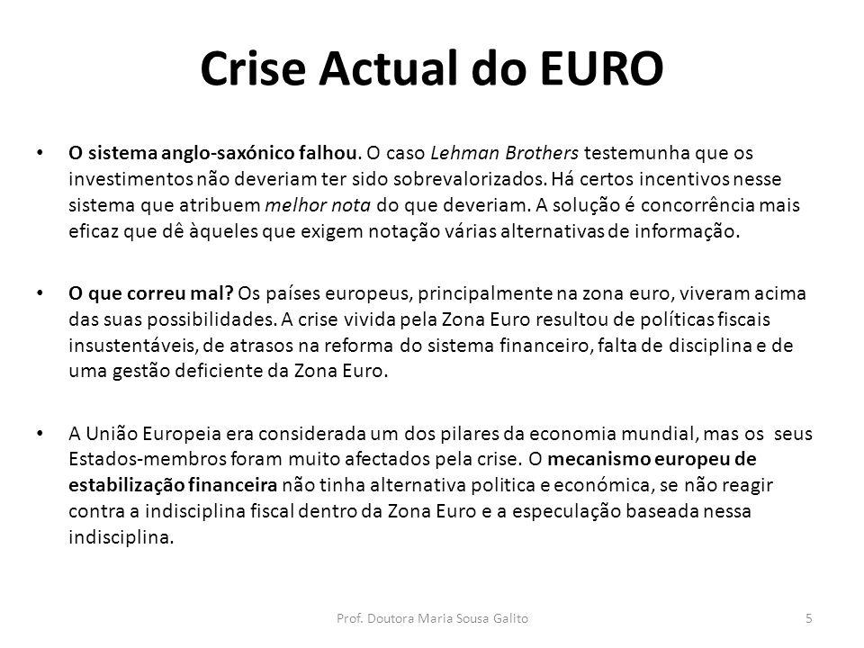 Crise Actual do EURO O sistema anglo-saxónico falhou. O caso Lehman Brothers testemunha que os investimentos não deveriam ter sido sobrevalorizados. H