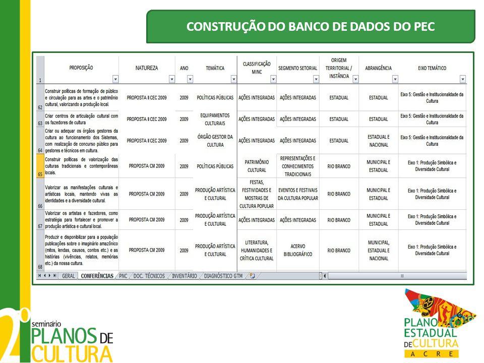 CONSTRUÇÃO DO BANCO DE DADOS DO PEC