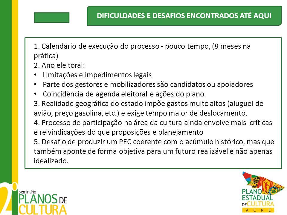 1. Calendário de execução do processo - pouco tempo, (8 meses na prática) 2. Ano eleitoral: Limitações e impedimentos legais Parte dos gestores e mobi