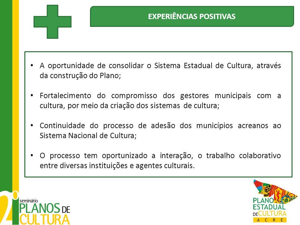 A oportunidade de consolidar o Sistema Estadual de Cultura, através da construção do Plano; Fortalecimento do compromisso dos gestores municipais com