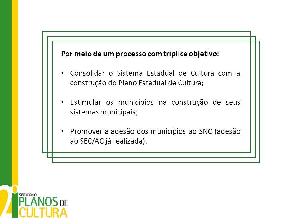 Por meio de um processo com tríplice objetivo: Consolidar o Sistema Estadual de Cultura com a construção do Plano Estadual de Cultura; Estimular os mu
