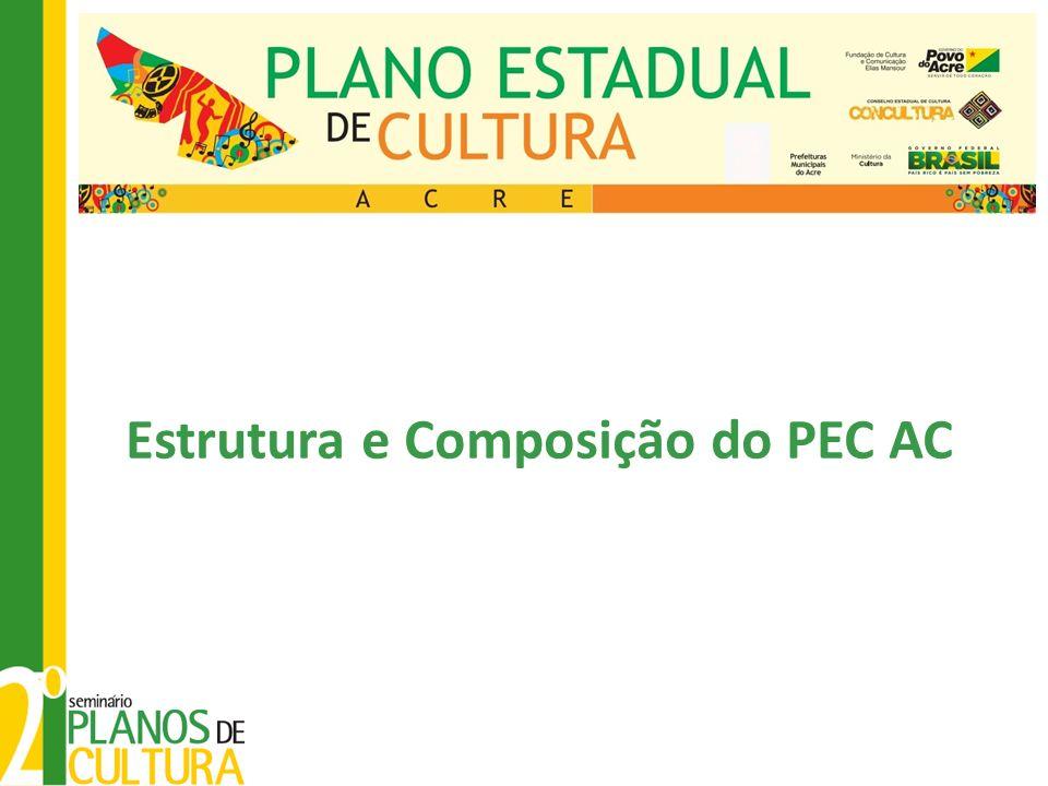 INSTÂNCIA DE COORDENAÇÃO DO PLANO ESTADUAL DE CULTURA INSTÂNCIAS DE CONSTRUÇÃO DO PLANO ESTADUAL DE CULTURA GRUPO TÉCNICO INTERINSTITUCIONAL – GTI: NUCLEO EXECUTIVO FEM RAC CONCULTURA FÓRUM DO PEC/AC: GTI CONCULTURA AMPLIADO GRUPOS DE TRABALHO MUNICIPAIS ÁREAS DE GOVERNO COM INTERFACE COM A CULTURA INSTÂNCIAS DE COORDENAÇÃO E DE CONSTRUÇÃO