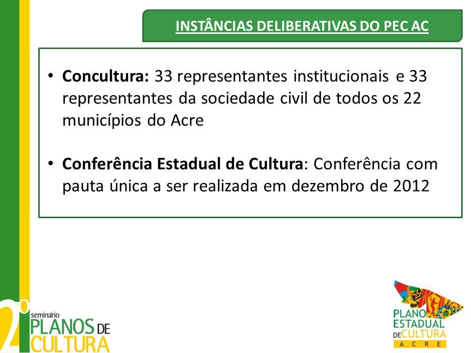 INSTÂNCIAS DELIBERATIVAS DO PEC AC Concultura: 33 representantes institucionais e 33 representantes da sociedade civil de todos os 22 municípios do Ac