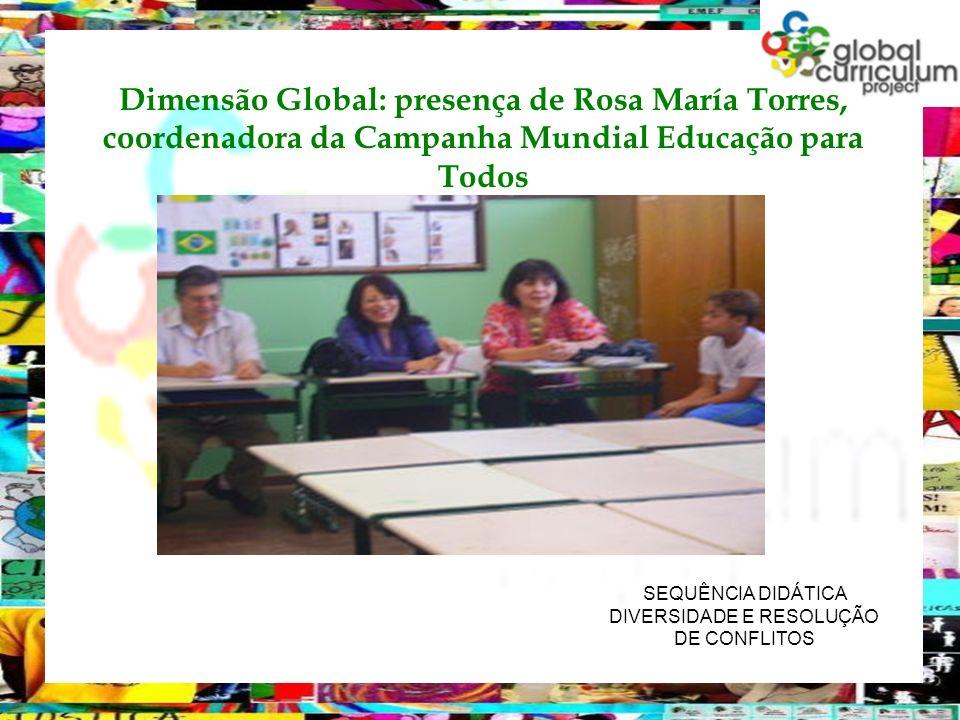 SEQUÊNCIA DIDÁTICA DIVERSIDADE E RESOLUÇÃO DE CONFLITOS Dimensão Global: presença de Rosa María Torres, coordenadora da Campanha Mundial Educação para