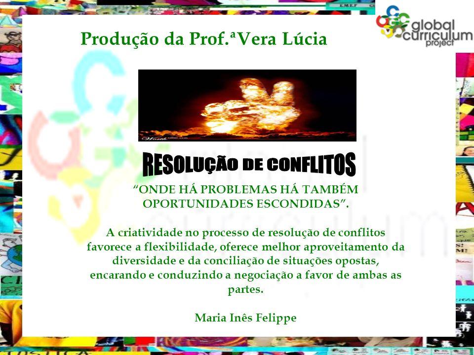 Produção da Prof.ªVera Lúcia ONDE HÁ PROBLEMAS HÁ TAMBÉM OPORTUNIDADES ESCONDIDAS. A criatividade no processo de resolução de conflitos favorece a fle