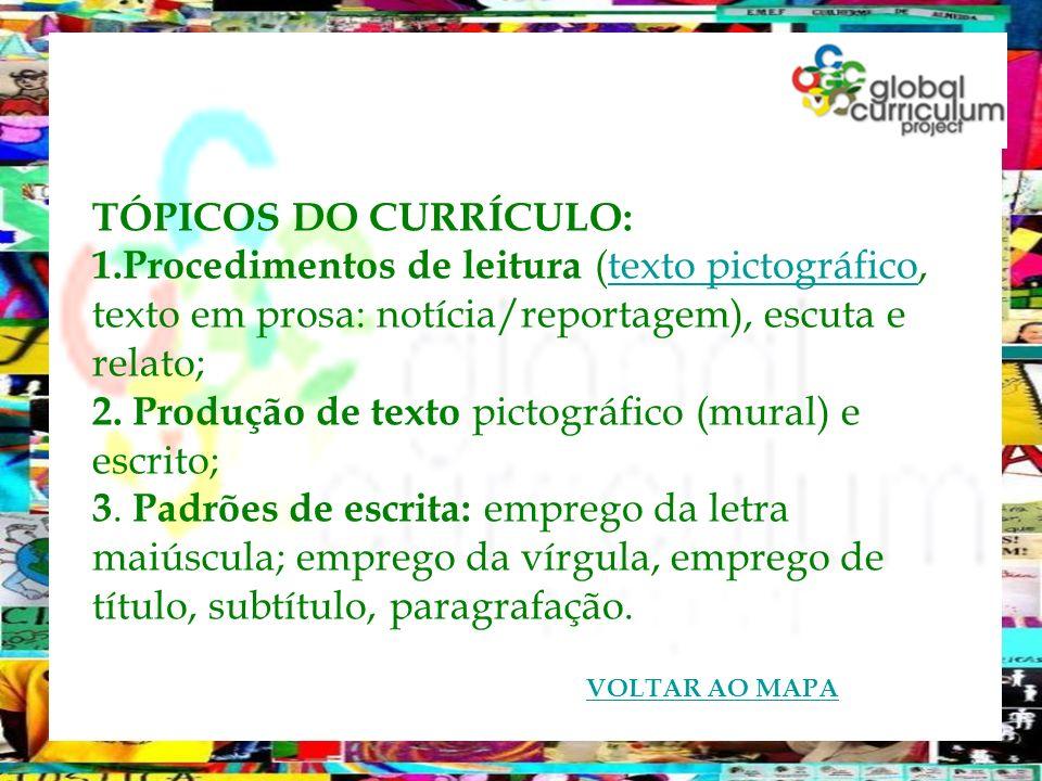 TÓPICOS DO CURRÍCULO: 1.Procedimentos de leitura (texto pictográfico, texto em prosa: notícia/reportagem), escuta e relato;texto pictográfico 2. Produ