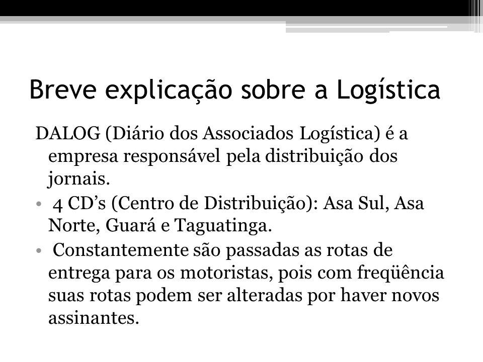 Breve explicação sobre a Logística DALOG (Diário dos Associados Logística) é a empresa responsável pela distribuição dos jornais. 4 CDs (Centro de Dis