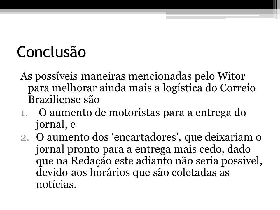 Conclusão As possíveis maneiras mencionadas pelo Witor para melhorar ainda mais a logística do Correio Braziliense são 1. O aumento de motoristas para