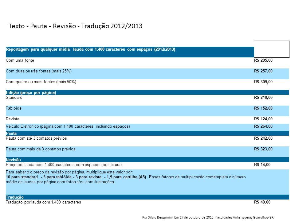 Texto - Pauta - Revisão - Tradução 2012/2013 Reportagem para qualquer mídia - lauda com 1.400 caracteres com espaços (2012/2013) Com uma fonteR$ 205,0