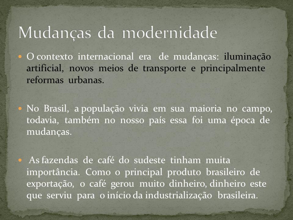 O contexto internacional era de mudanças: iluminação artificial, novos meios de transporte e principalmente reformas urbanas. No Brasil, a população v