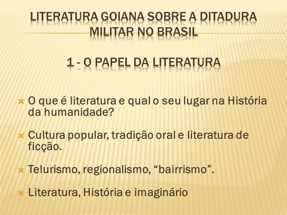 O que é literatura e qual o seu lugar na História da humanidade? Cultura popular, tradição oral e literatura de ficção. Telurismo, regionalismo, bairr
