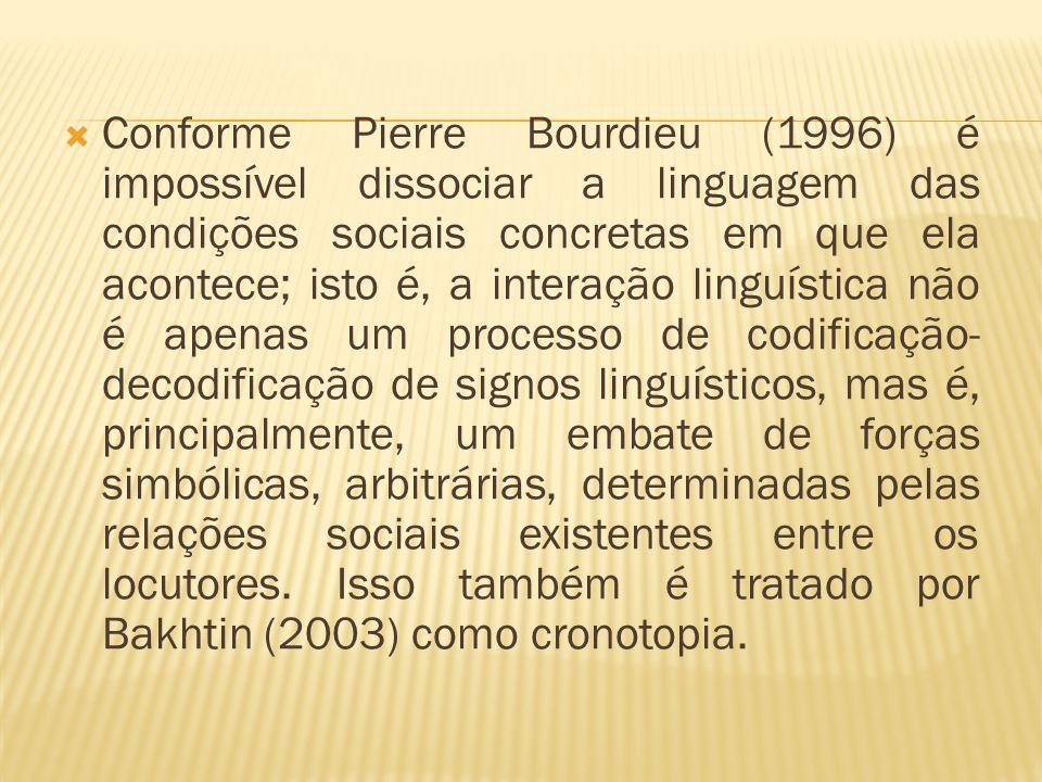Conforme Pierre Bourdieu (1996) é impossível dissociar a linguagem das condições sociais concretas em que ela acontece; isto é, a interação linguístic