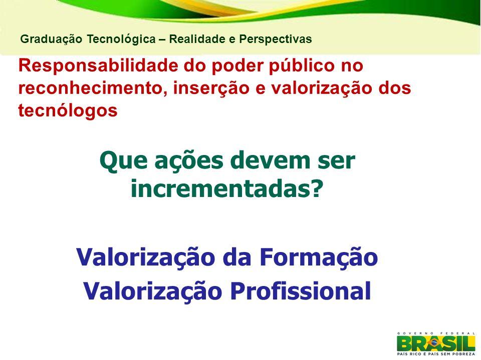 Graduação Tecnológica – Realidade e Perspectivas Responsabilidade do poder público no reconhecimento, inserção e valorização dos tecnólogos Que ações