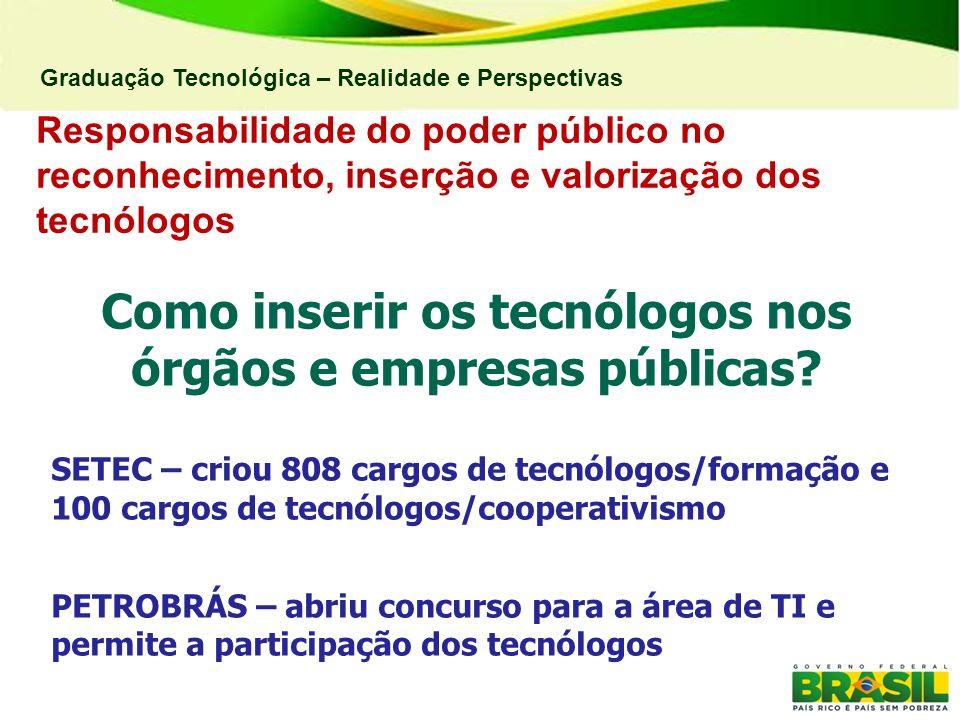 Graduação Tecnológica – Realidade e Perspectivas Como inserir os tecnólogos nos órgãos e empresas públicas? SETEC – criou 808 cargos de tecnólogos/for