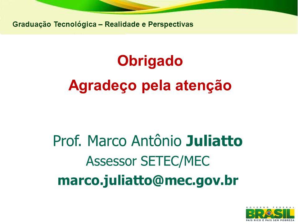 Graduação Tecnológica – Realidade e Perspectivas Obrigado Agradeço pela atenção Prof. Marco Antônio Juliatto Assessor SETEC/MEC marco.juliatto@mec.gov