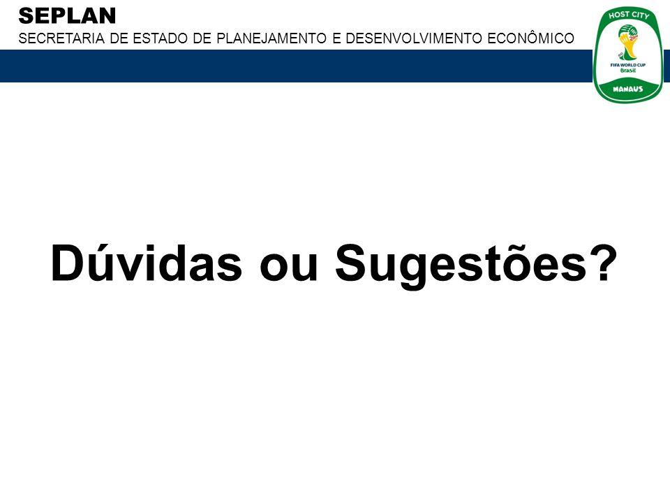 SEPLAN SECRETARIA DE ESTADO DE PLANEJAMENTO E DESENVOLVIMENTO ECONÔMICO Comitê Estadual de Políticas de Informática 92-2126-1254 / 9907-5220 cepinf@seplan.am.gov.br fabiano@seplan.am.gov.br OBRIGADO!