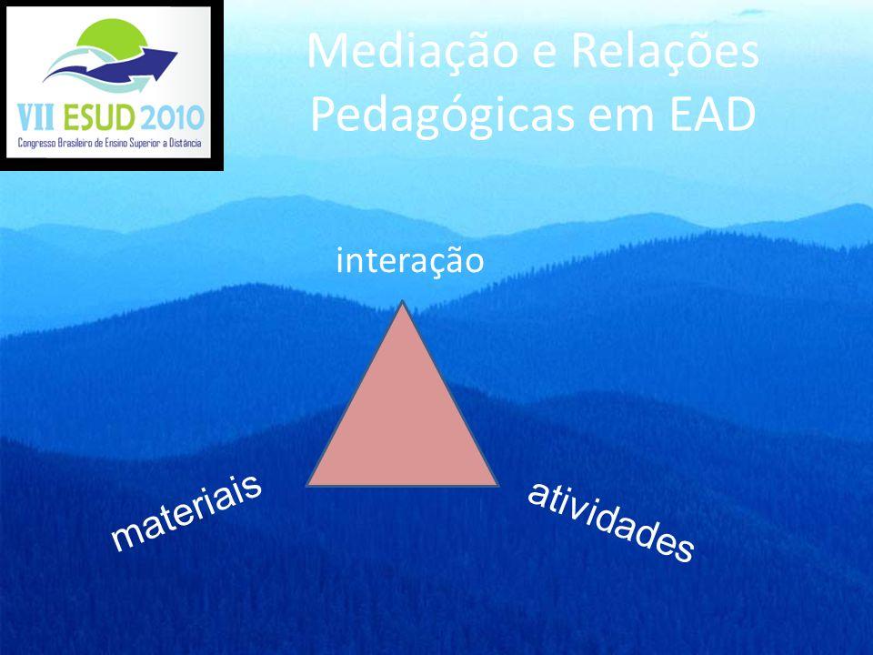 Mediação e Relações Pedagógicas em EAD interação materiais atividades