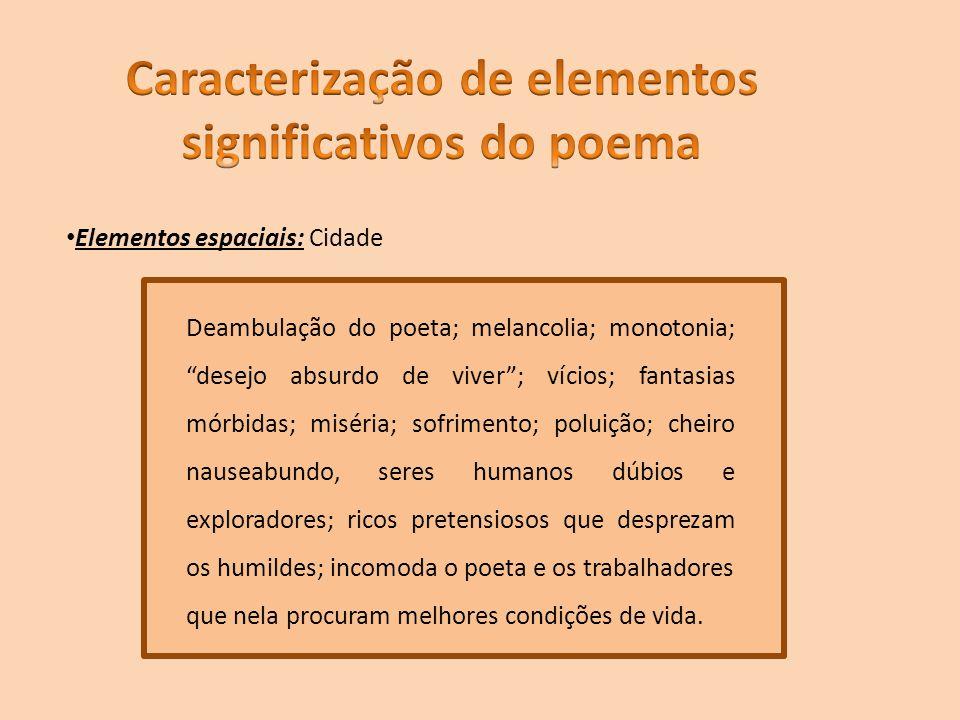 Elementos espaciais: Cidade Deambulação do poeta; melancolia; monotonia; desejo absurdo de viver; vícios; fantasias mórbidas; miséria; sofrimento; pol