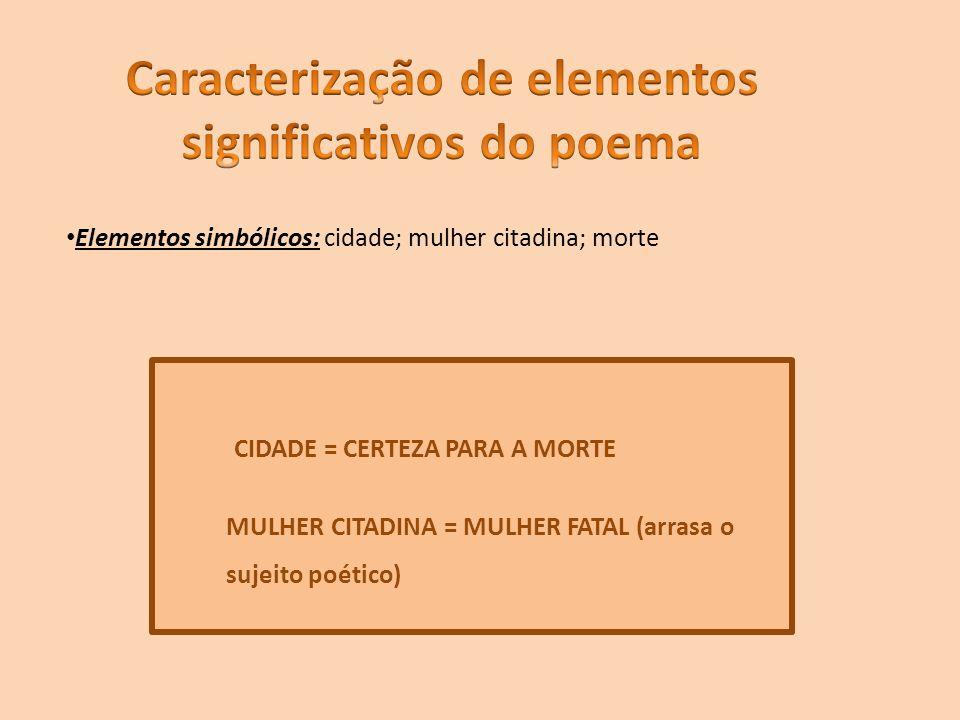Elementos simbólicos: cidade; mulher citadina; morte CIDADE = CERTEZA PARA A MORTE MULHER CITADINA = MULHER FATAL (arrasa o sujeito poético)