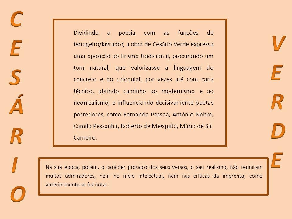 Dividindo a poesia com as funções de ferrageiro/lavrador, a obra de Cesário Verde expressa uma oposição ao lirismo tradicional, procurando um tom natu