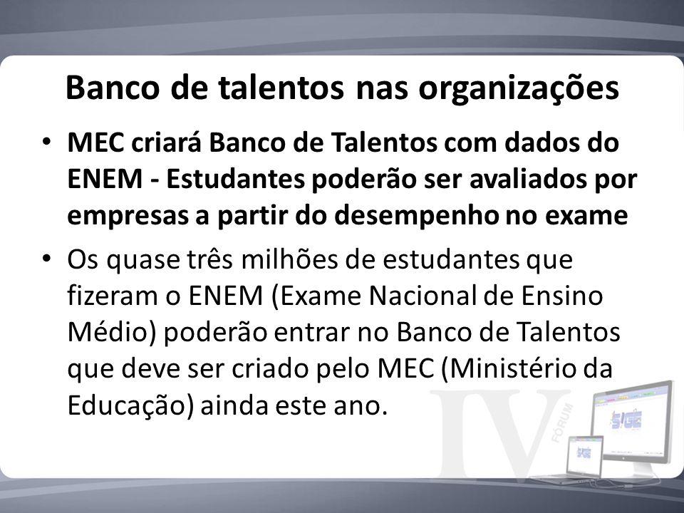 Banco de talentos nas organizações MEC criará Banco de Talentos com dados do ENEM - Estudantes poderão ser avaliados por empresas a partir do desempen