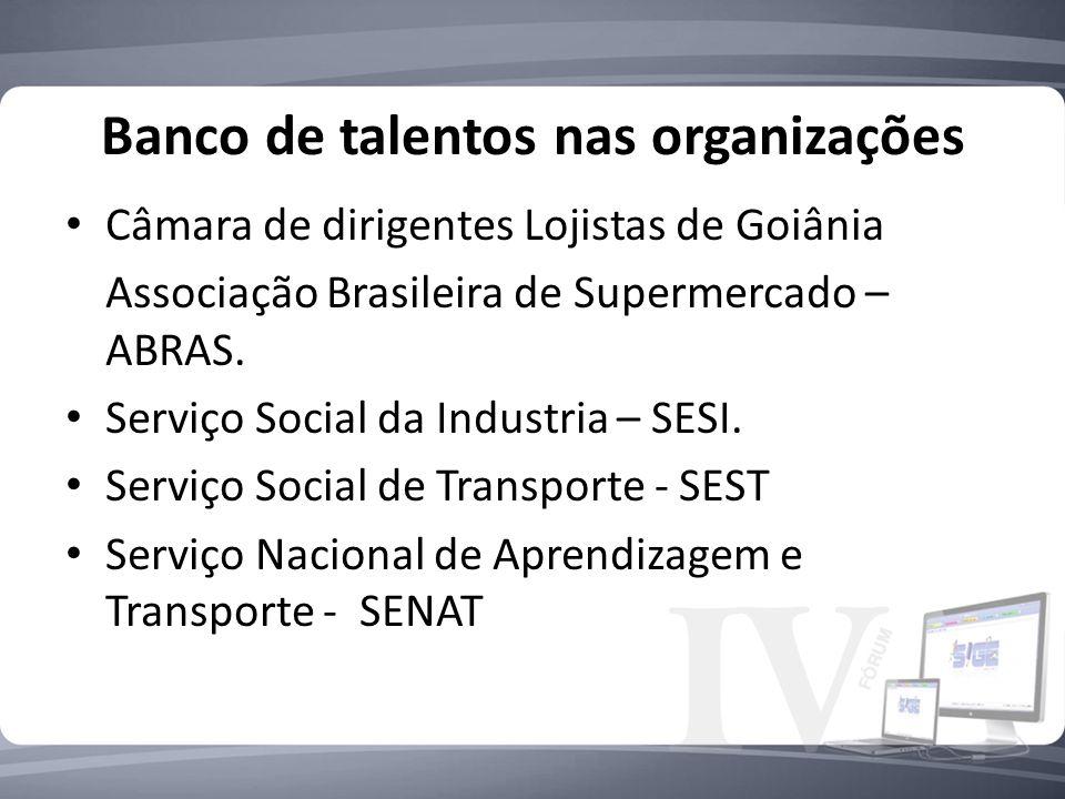 Banco de talentos nas organizações Câmara de dirigentes Lojistas de Goiânia Associação Brasileira de Supermercado – ABRAS. Serviço Social da Industria