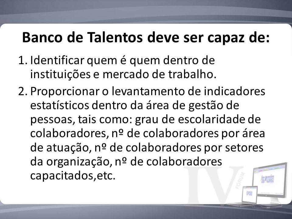Banco de Talentos deve ser capaz de: 1.Identificar quem é quem dentro de instituições e mercado de trabalho. 2.Proporcionar o levantamento de indicado
