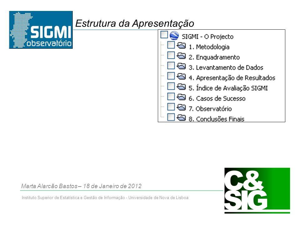 Instituto Superior de Estatística e Gestão de Informação - Universidade de Nova de Lisboa Estrutura da Apresentação Marta Alarcão Bastos – 18 de Janeiro de 2012
