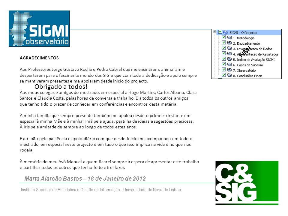 Marta Alarcão Bastos – 18 de Janeiro de 2012 Instituto Superior de Estatística e Gestão de Informação - Universidade de Nova de Lisboa FIM.