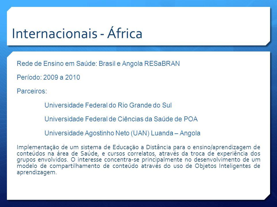 Rede de Ensino em Saúde: Brasil e Angola RESaBRAN Período: 2009 a 2010 Parceiros: Universidade Federal do Rio Grande do Sul Universidade Federal de Ci