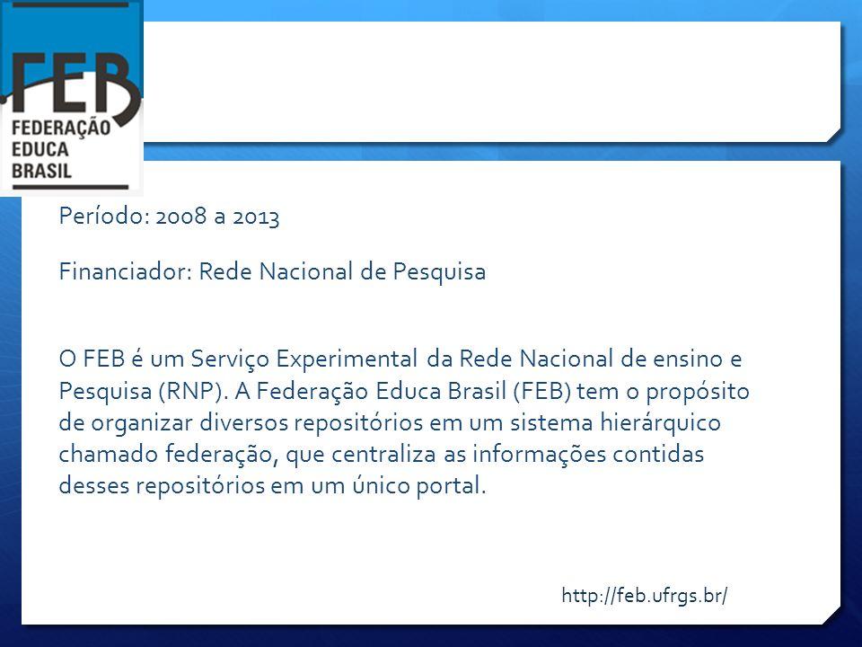 Período: 2008 a 2013 Financiador: Rede Nacional de Pesquisa O FEB é um Serviço Experimental da Rede Nacional de ensino e Pesquisa (RNP). A Federação E