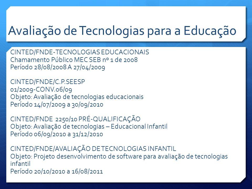 CINTED/FNDE-TECNOLOGIAS EDUCACIONAIS Chamamento Público MEC SEB nº 1 de 2008 Período 28/08/2008 A 27/04/2009 CINTED/FNDE/C.P.SEESP 01/2009-CONV.06/09