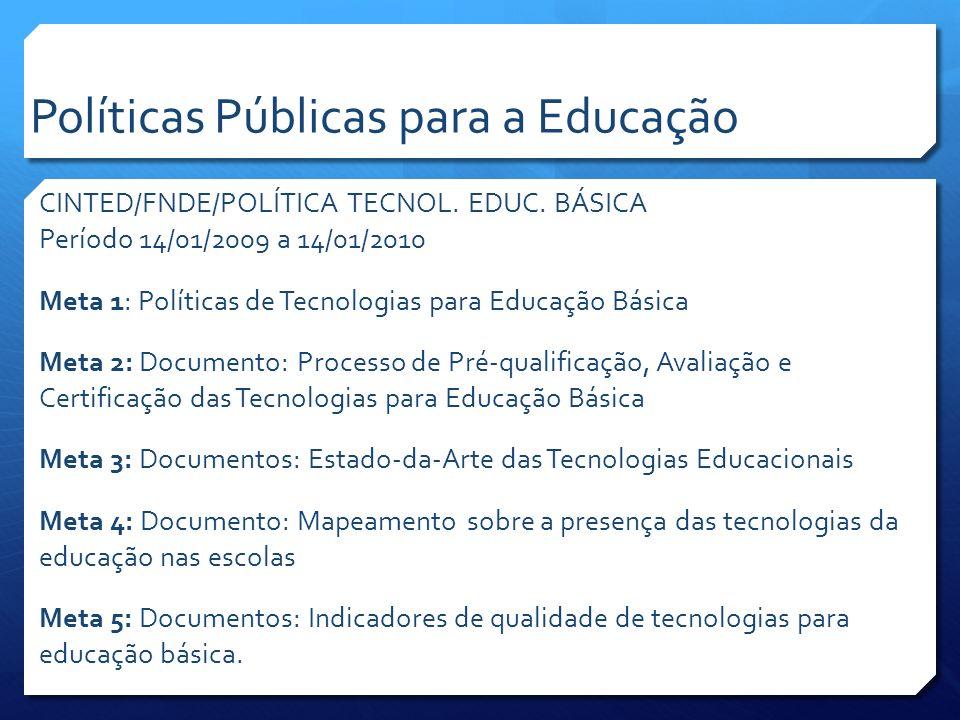 CINTED/FNDE/POLÍTICA TECNOL. EDUC. BÁSICA Período 14/01/2009 a 14/01/2010 Meta 1: Políticas de Tecnologias para Educação Básica Meta 2: Documento: Pro