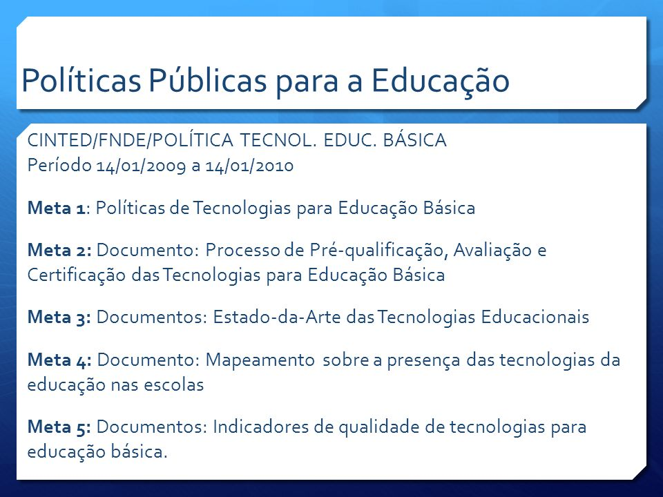 CINTED/FNDE/POLÍTICA TECNOL. EDUC.