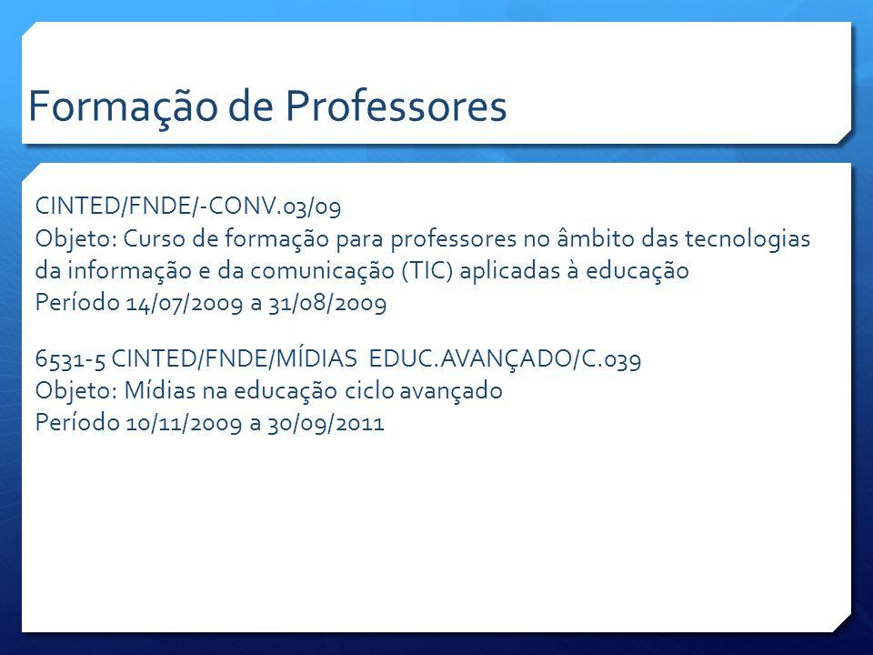 CINTED/FNDE195/10-TIC Objeto: LINUX Educacional – Qualificação de professores de escolas públicas no âmbito das Tecnologias da Informação e Comunicação Período 05/07/2010 a 31/12/2011 CINTED/FNDE 199/10-TECNOLOGIAS Educacionais Objeto: Prospecção, pesquisa e desenvolvimento do conteúdo do curso online para o Programa Linux Educacional Período 12/07/2010 a 31/12/2011 6526-9 CINTED/FNDE/PROG.