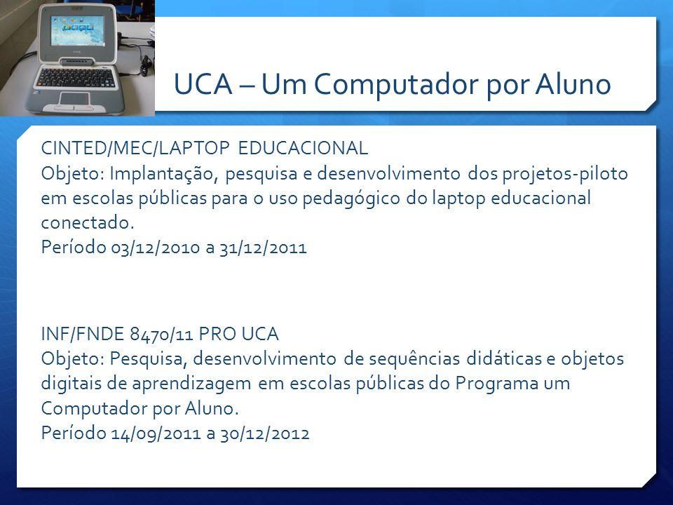 CINTED/MEC/LAPTOP EDUCACIONAL Objeto: Implantação, pesquisa e desenvolvimento dos projetos-piloto em escolas públicas para o uso pedagógico do laptop